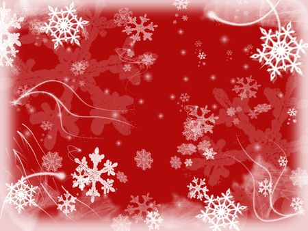 wintriness: white snowflakes over red background with feather corners