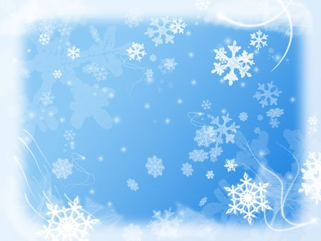 wintriness: white snowflakes over light blue background with feather corners