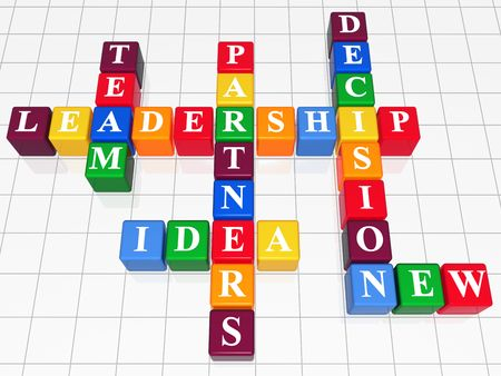 3d color boxes like crossword - leadership; team; partners; decision; idea; new