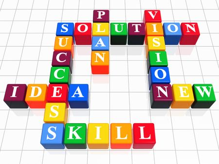 3d color boxes like crossword - solution, success; plan; idea; vision; new; skill photo