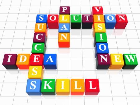 plot: 3d color boxes like crossword - solution, success; plan; idea; vision; new; skill