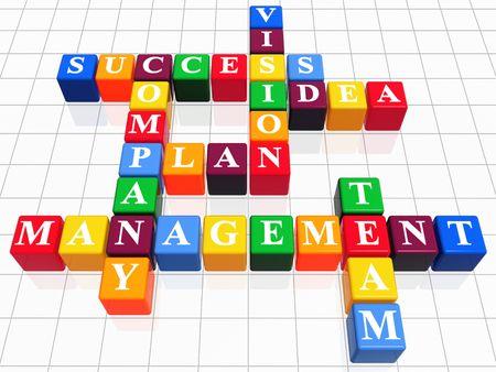 3d color boxes like crossword - success; plan; idea; company; vision; management; team photo