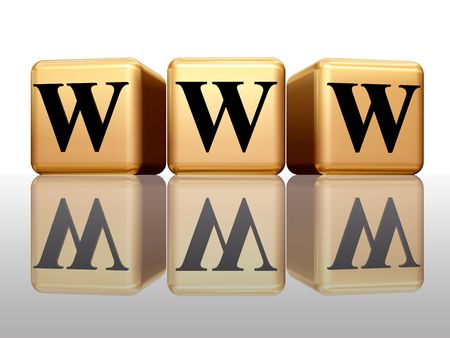 3d golden boxes with text - www with reflection Stock Photo - 2079479