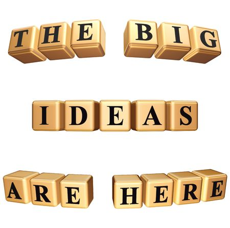 3d golden boxes with black letters with text - the big ideas are here, isolated photo