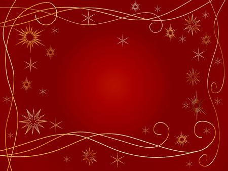 tenderly: 3d golden snowflakes over red background with feather center