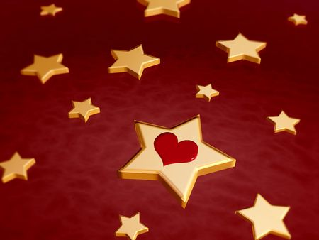 newcomer: 3d golden stars and red heart over red background Stock Photo