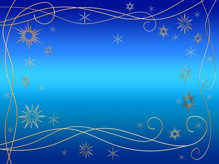 wintriness: 3d golden snowflakes over blue background with feather center Stock Photo