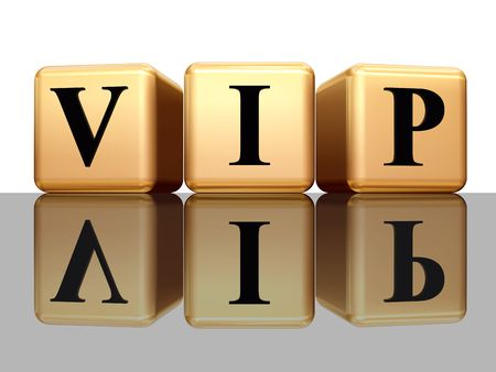 renowned: VIP - golden boxes with black letters over white background with reflection  Stock Photo