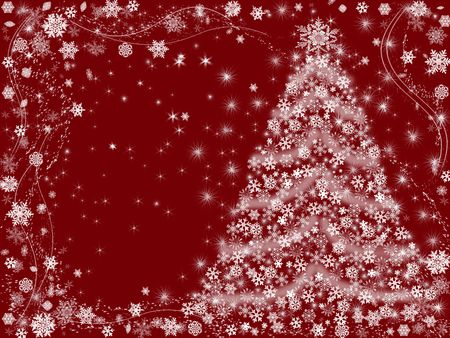 wintriness: christmas tree drawn by white snowflakes over red background