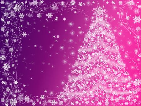 wintriness: christmas tree drawn by white snowflakes over pink and violet background