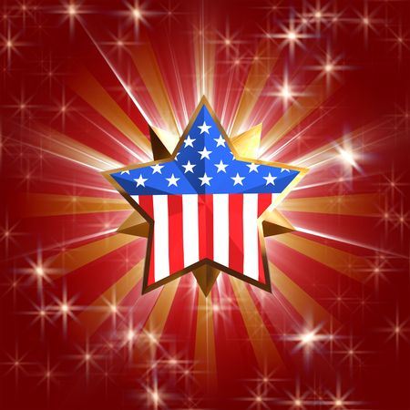 festiveness: 3d golden star with usa flag over red background with rays, gleams and stars