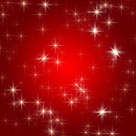 wintriness: white stars over red background with feather center Stock Photo