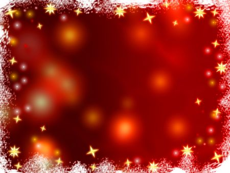 gleams: golden 3d stars over red background with lights and gleams