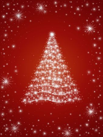 wintriness: christmas tree drawn by white lights over red background