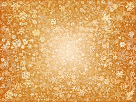wintriness: golden snowflakes over gold background with feather center