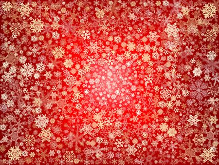wintriness: golden snowflakes over red background with feather center