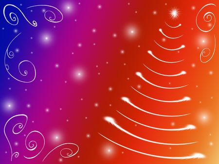 wintriness: christmas tree drawn by white lights over yellow, red, violet and blue background