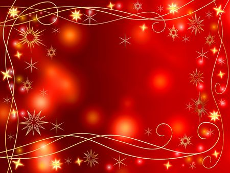 tenderly: golden 3d stars and snowflakes over red background with lights and gleams