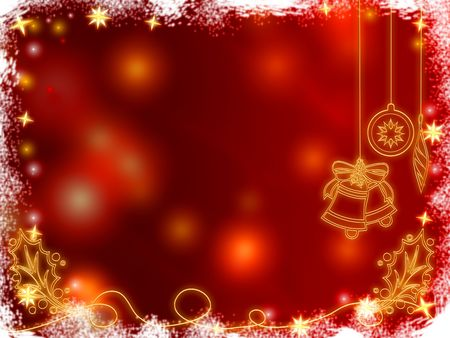 festiveness: 3d golden christmas bells, snowflakes, stars and cones over red background with feather center Stock Photo