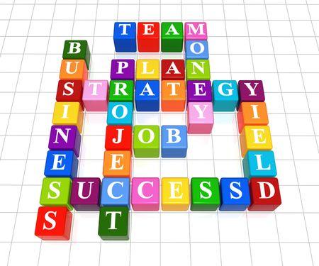 3d color boxes crossword  Stock Photo