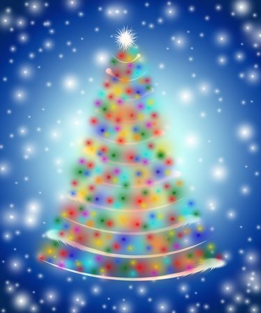 festiveness: christmas tree drawn by white, red, yellow, orange, pink, violet, green and blue lights