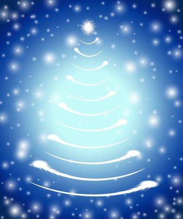 gleams: christmas tree drawn by white lights over blue background