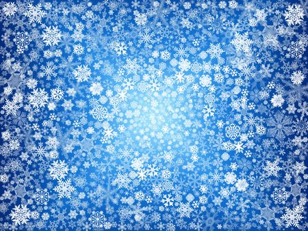 festiveness: white snowflakes over blue background with feather center