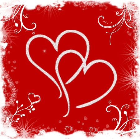 Red white illustrated valentine background with hearts and flowers Stock Photo - 2166828