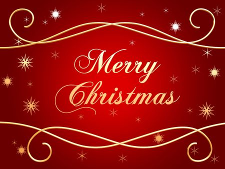 festiveness: 3d golden text with words Merry Christmas and golden snowflakes over red background