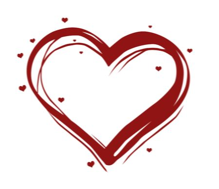 backgrouns: red illustrated heart with many little hearts over white background