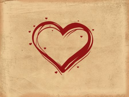 red illustrated heart with many little hearts over old paper background photo