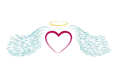 heart with wings: illustrated heart with blue wings like angel Stock Photo