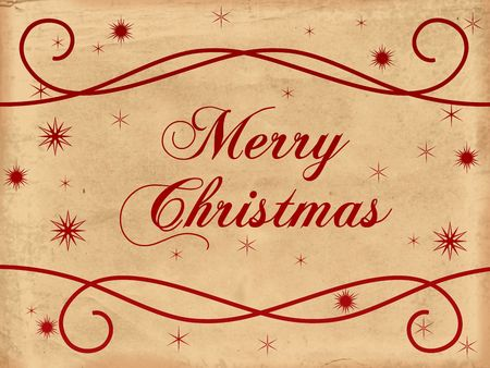festiveness: red text with words Merry Christmas and snowflakes over old paper