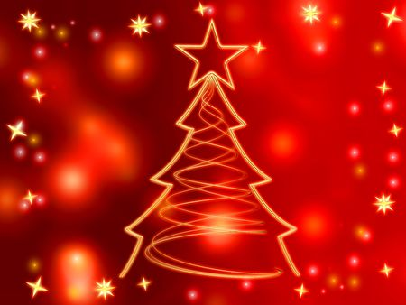 gleams: golden christmas tree with gold stars and lights over red background