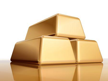 profiting: 3d tre bullions d'oro con la riflessione, lingotto, bar