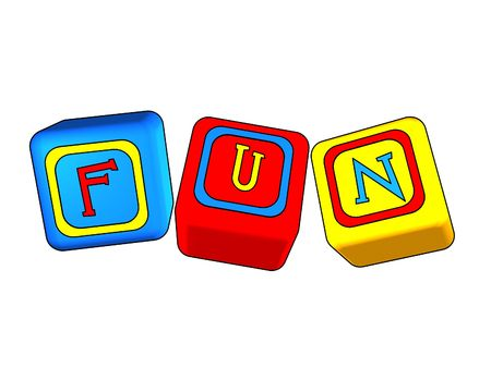 3d colour boxes with colour letters with text - fun Stock Photo - 2221814