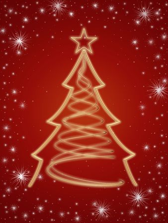 gleams: golden 3d christmas tree with gold stars and white lights over red background Stock Photo