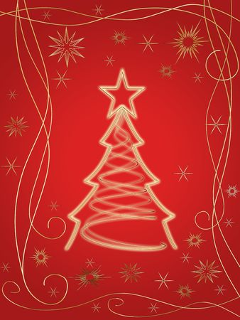 festiveness: golden 3d christmas tree with gold stars, snowflakes and ornaments over red background