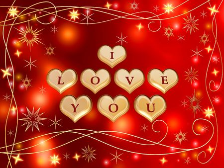 gleams: 3d golden hearts, red letters, text - I love you, stars, lights, gleams Stock Photo