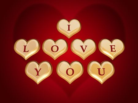 3d golden hearts, red letters, text - I love you, gradient Stock Photo