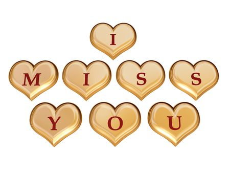 3d golden hearts with red letters with text - I miss you, isolated Stock Photo