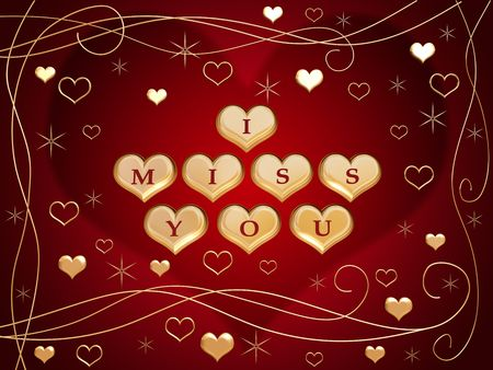 3d golden hearts, red letters, text - I miss you, flowers, stars