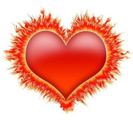 heart burn: fire heart in red, orange and yellow flames