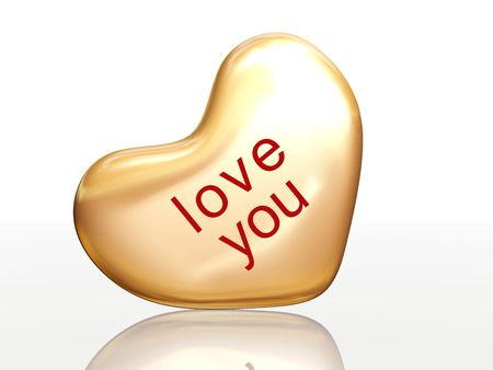 3d golden heart, red letters, text - love you, isolated Stock Photo - 2403162