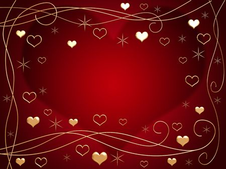 3d golden hearts, flowers and stars over red background