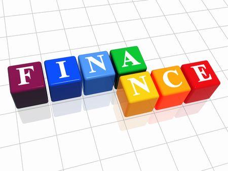 fondos violeta: 3d cajas de color con el texto - las finanzas, la palabra