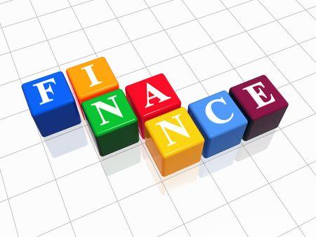 fondos violeta: 3D color con cajas de texto - las finanzas, la palabra Foto de archivo