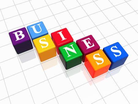 fondos violeta: 3d color con cajas de texto - las empresas, la palabra
