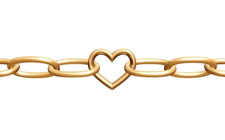 shackles: 3d golden heart with chain, fetters, isolated
