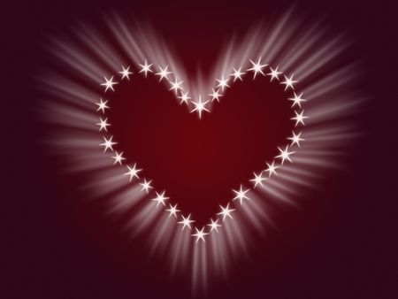 glisten: shining heart drawing by white stars with rays of light